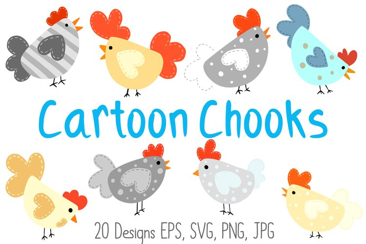 Roosters Hens Chooks Cartoon Chicken Collection SVG, PNG example image 1