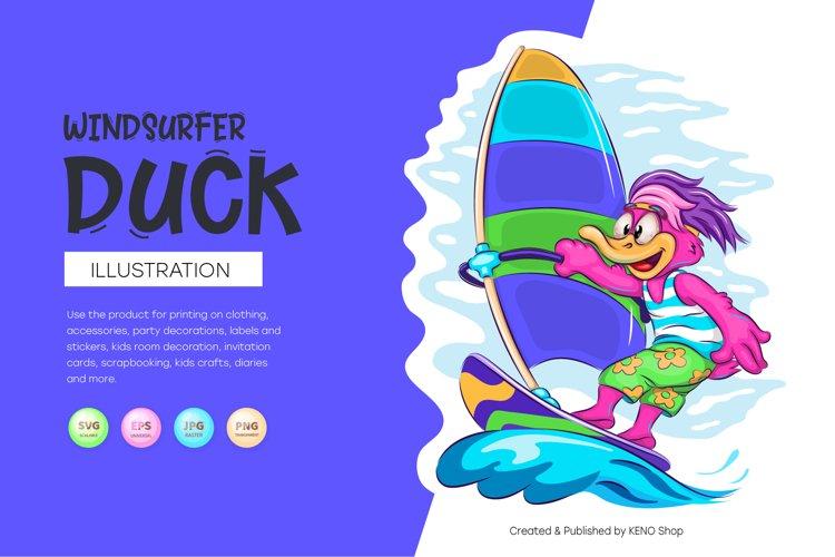 Cartoon Duck Windsurfer example image 1