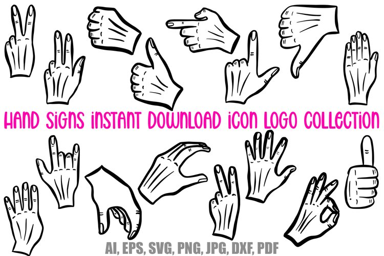 Hand Signs and Signals Icon Logo Design Cartoons Collection example image 1