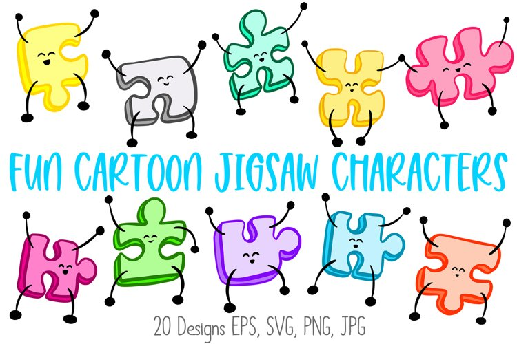 Jigsaw Puzzle Pieces Cartoon Characters! SVG, PNG, JPG, EPS example image 1