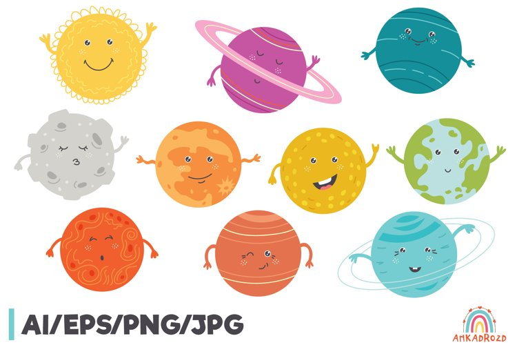 Cartoon Solar System Space Planet Clipart Graphic