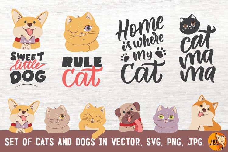 Cat & dog bundle. Cartoon head animals & quotes in svg, png