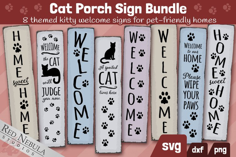 Cat Porch Sign Bundle | 8 Vertical Cat Themed Welcome Signs