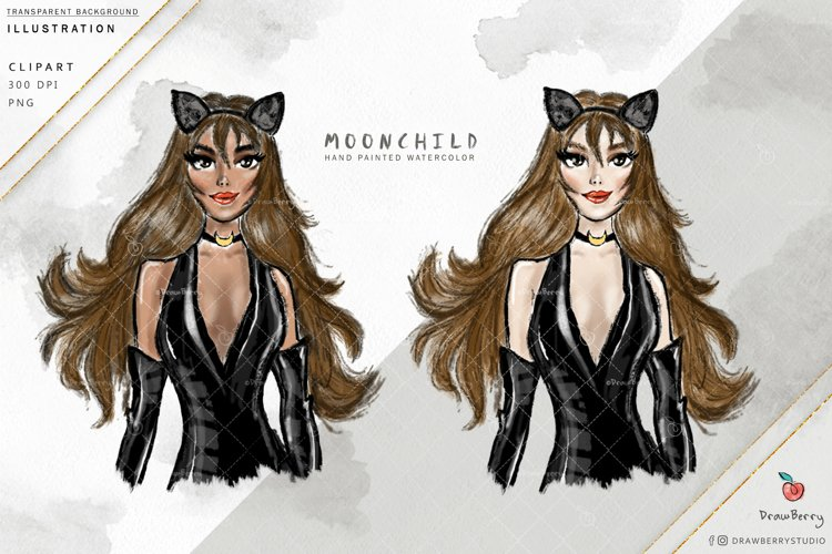 Moon Child Woman Clipart  Drawberry i010 example image 1
