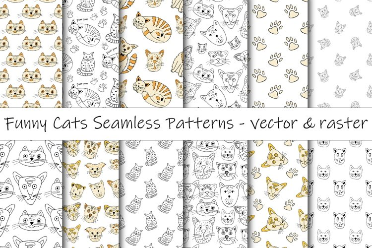 Funny Cats Doodles Digital Paper Pack \ Seamless Patterns