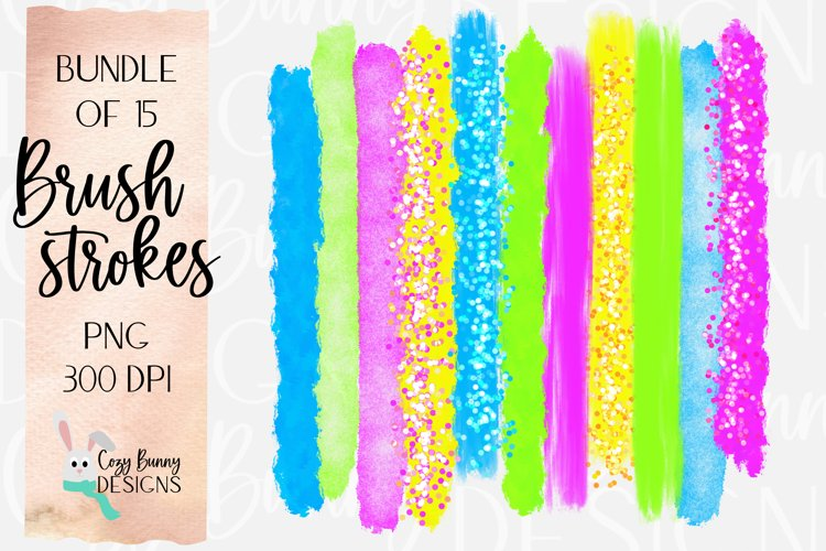 80s Neon Brush Strokes - Bundle of 15 PNG - Bold, Bright example image 1