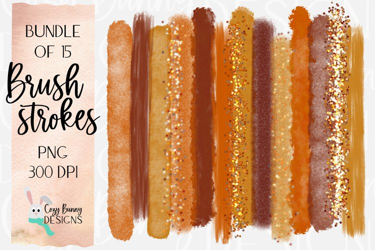Fall Brush Strokes - Bundle of 15 PNG example image 1