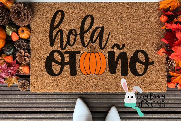 Hola Otono - Pumpkin SVG - Spanish Halloween SVG example image 1