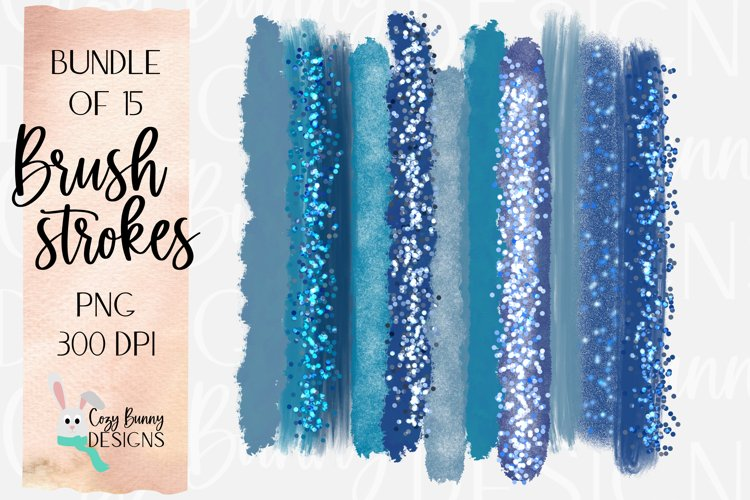 Winter Blue Brush Strokes - Ice Castle Bundle of 15 PNG example image 1