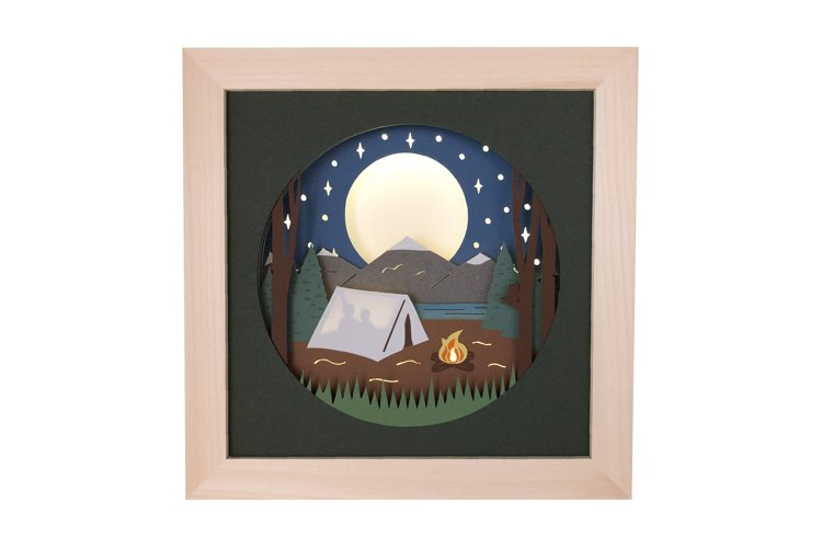 Camping Tent 3D Shadow Box SVG Layered Paper Cut Template
