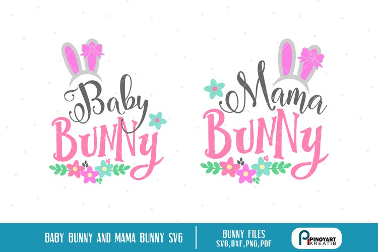 mama bunny svg, baby bunny svg, bunny svg, bunny svg file example image 1