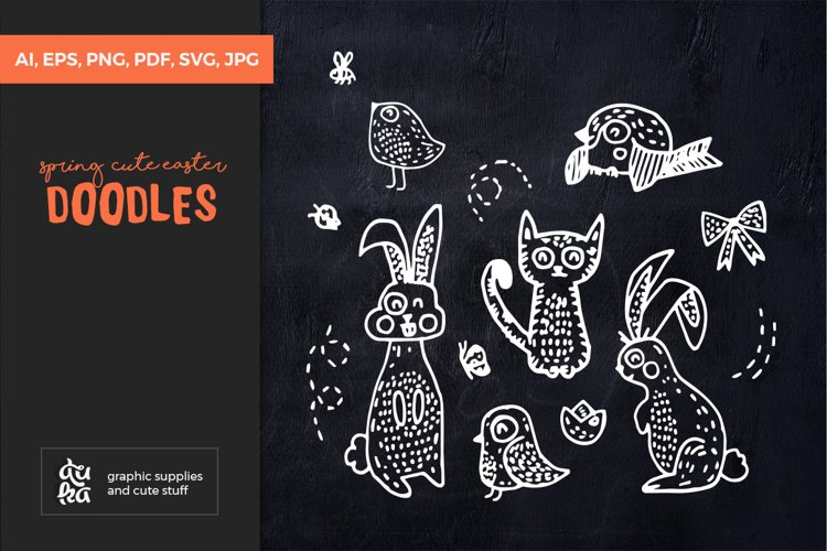 Easter SVG Cut Files - Spring Doodles with Animals