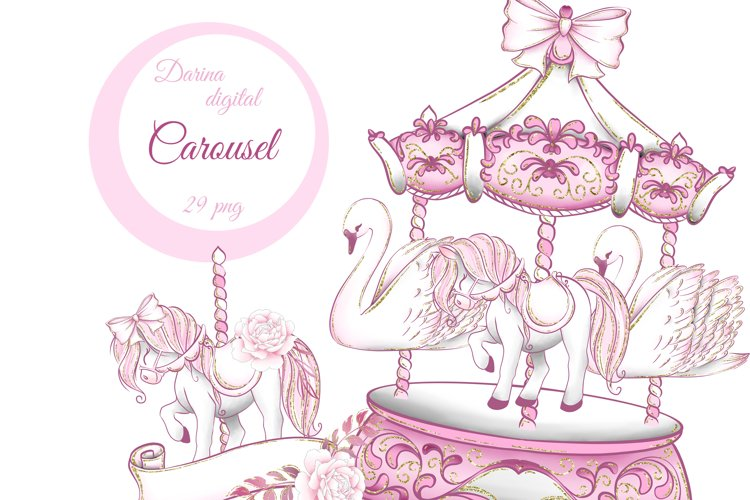 Pink carousel clipart