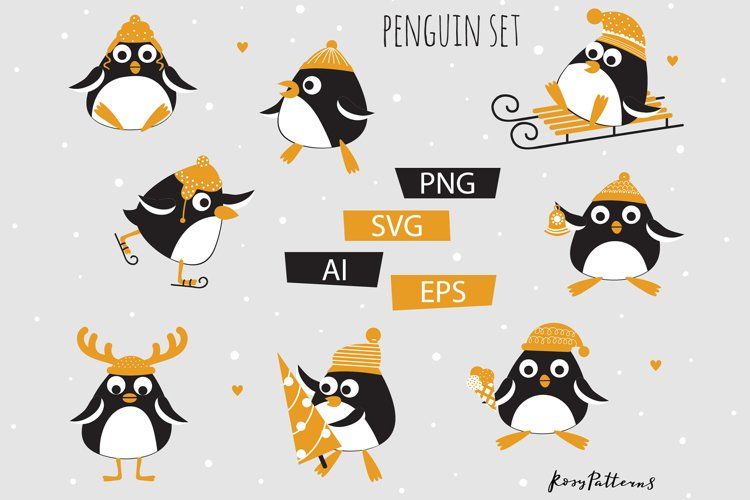 Winter funny penguins clipart