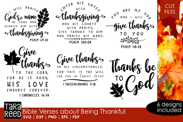 Bible Verses about Being Thankful - files for crafters