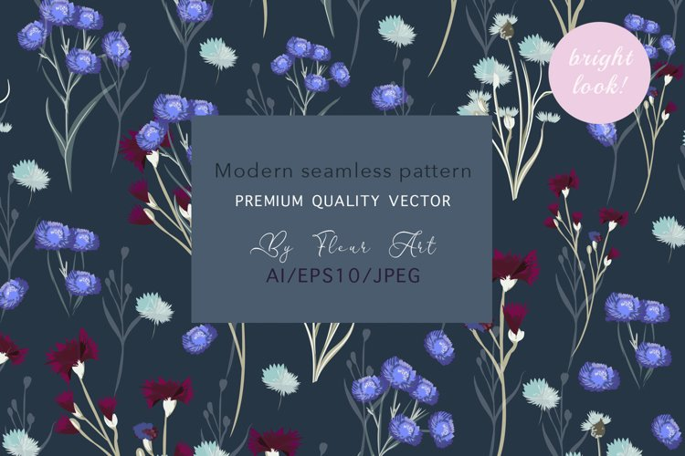 Rustic vector floral seamless pattern