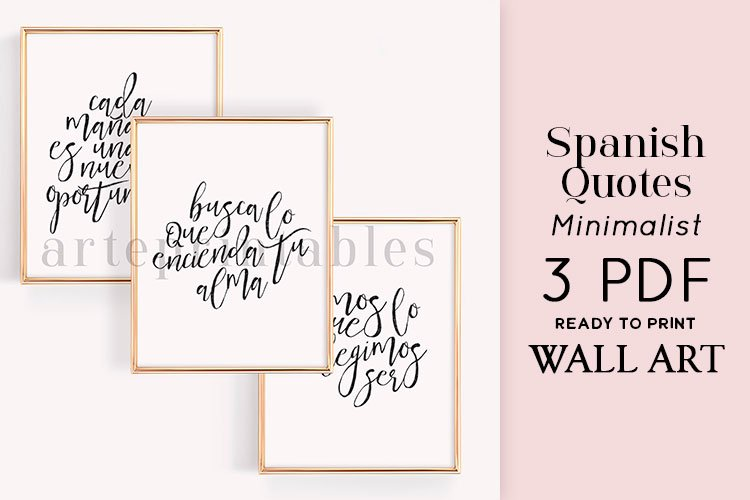 Spanish Quotes Handlettered Style Wall Art