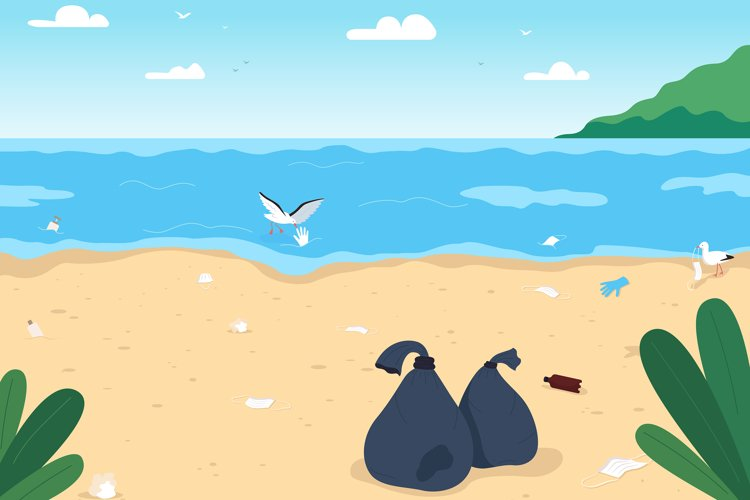 Empty dirty beach flat color vector illustration example image 1