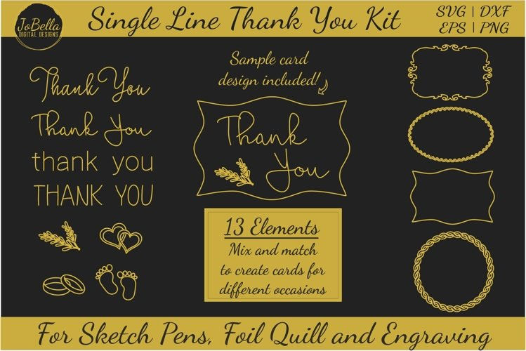 Thank You Single Line Bundle for Foil Quill, Sketching etc.
