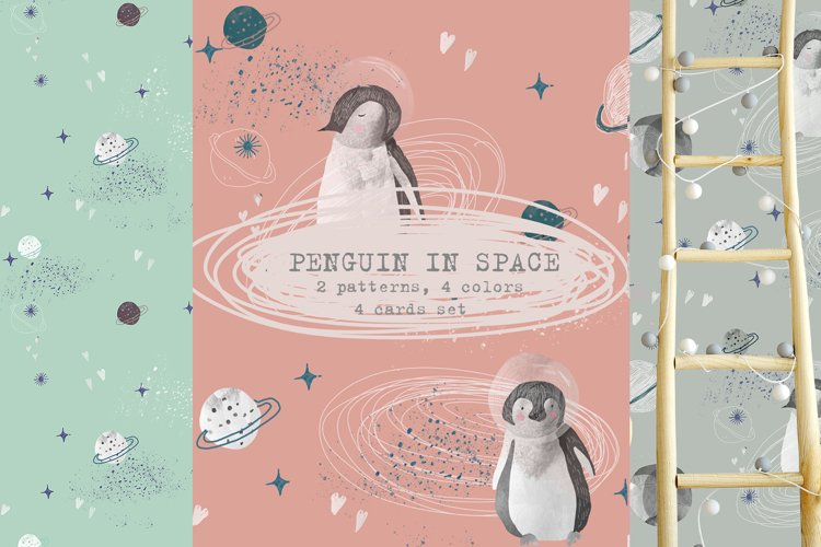 Cute penguins and space Pattern for kids example image 1
