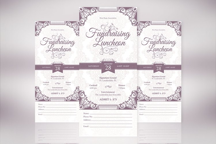 Vintage Luncheon Ticket Template example image 1