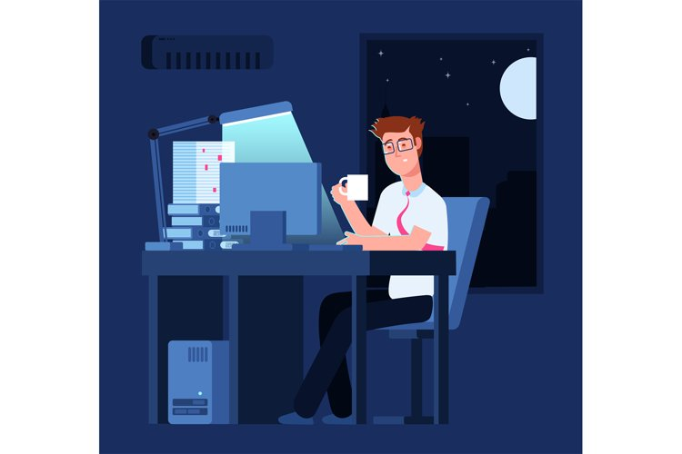 Work late concept. Man at night in office with pile of paper example image 1