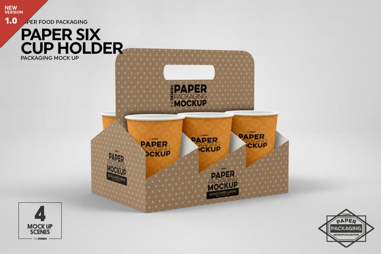 Paper Six Cup Carrier/Holder Packaging Mockup example image 1