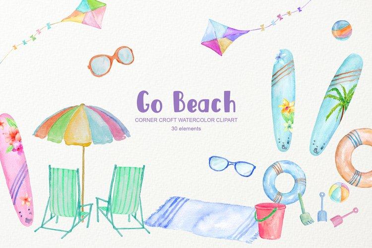 Watercolor Beach Surfboard Kite Clipart