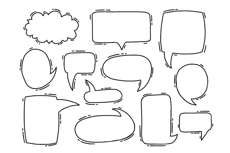 Collection hand drawn communicate speech. example image 1