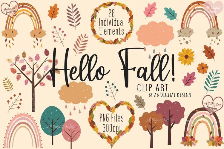 Cute Fall Clipart, Autumn Rainbows Leaves Trees, Kids, Baby