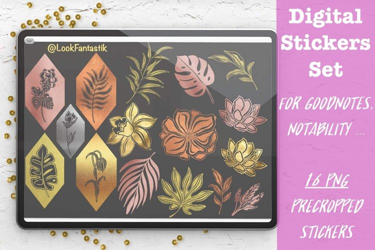 Leaves & Flowers Digital Sticker Set For GoodNotes Planner example image 1