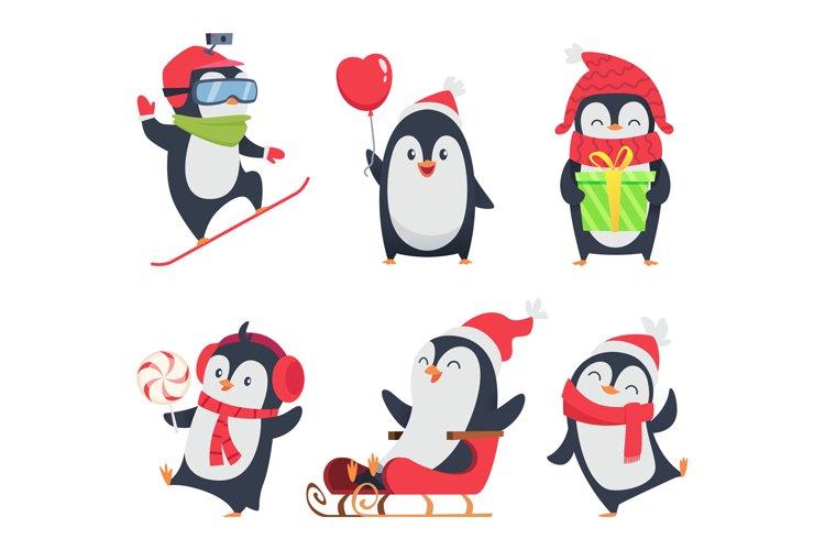 Penguin characters. Cartoon winter illustrations of wildlife