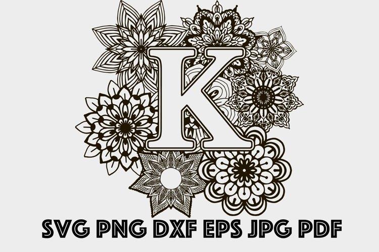 Letter K Mandala SVG, Alphabet Svg, Letters SVG, Mandala SVG