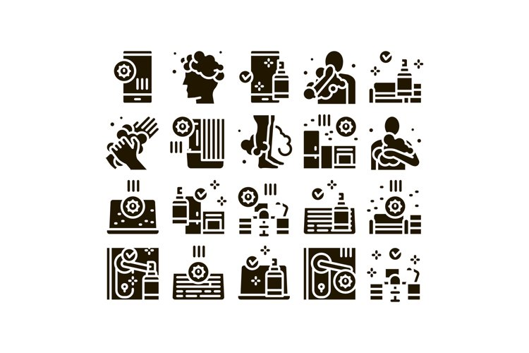 Hygiene And Healthcare Glyph Set Vector example image 1