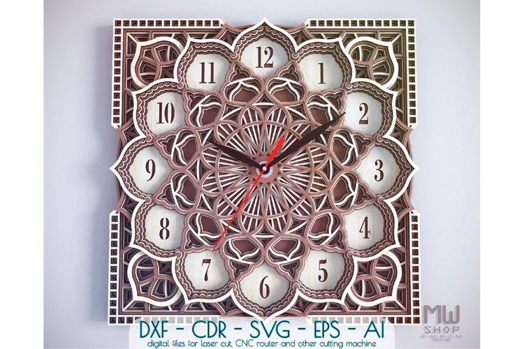 C09 - Wall Clock for Laser cut, Mandala Clock DXF pattern example image 1