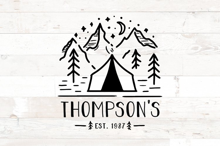 Family Name Sign  Camping Tent Welcome Family Name example image 1