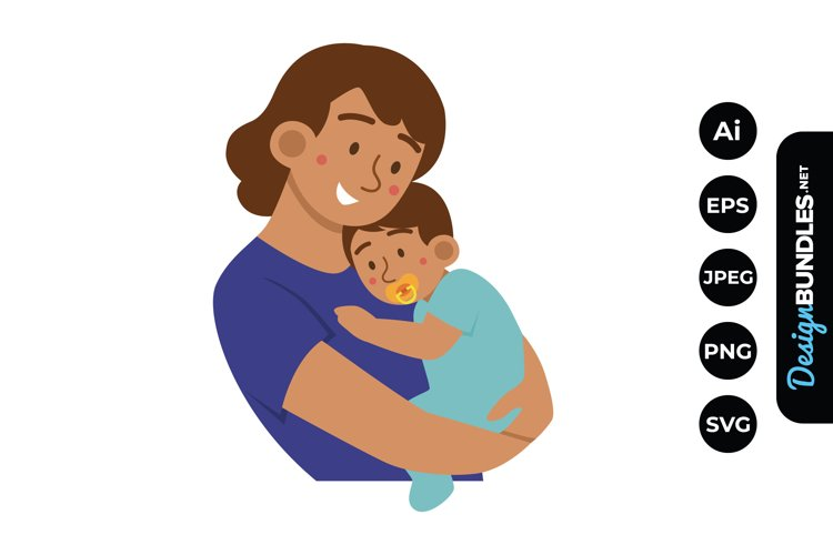 Mom and Baby Boy Clipart example image 1