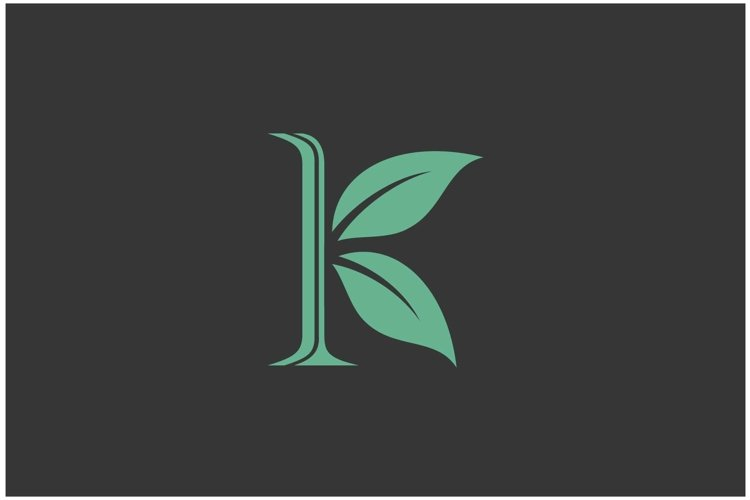 Letter initial K and leaf combination logo design