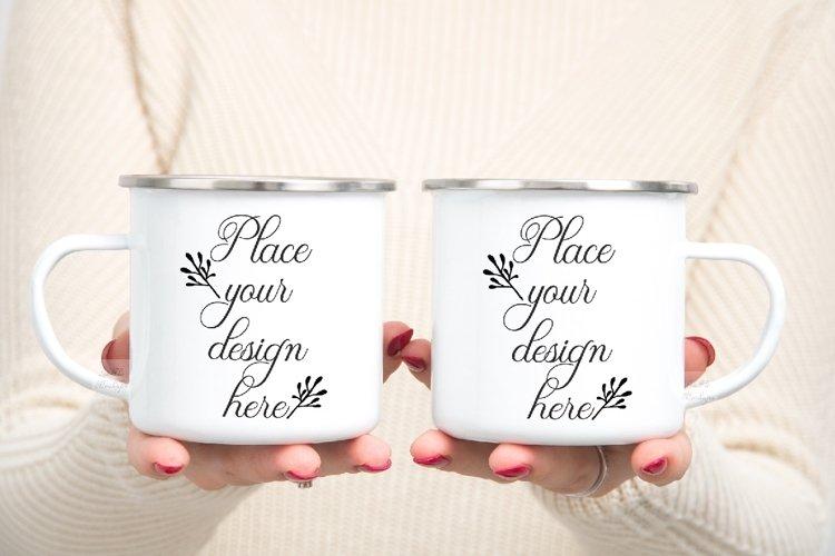 mug mockup woman two 2 enamel mugs camp PSD Camping mock up