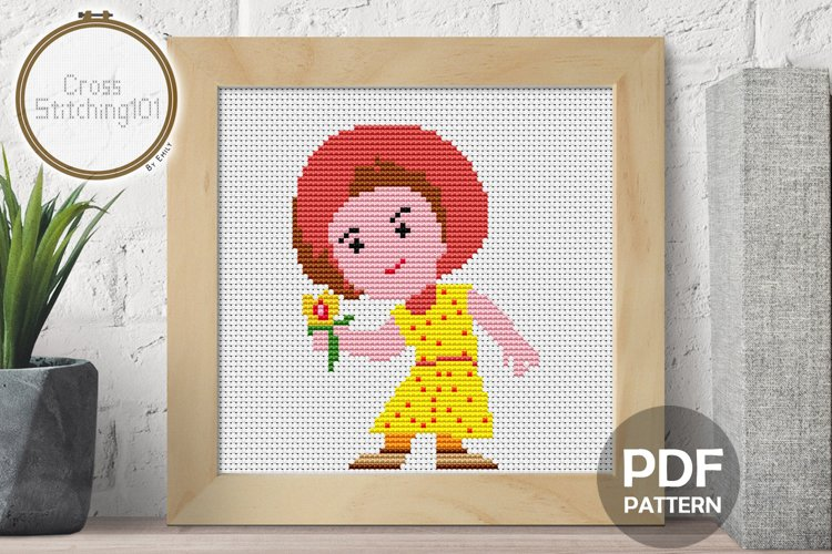 Cartoon Girl Cross Stitch Pattern - Instant Download PDF example image 1