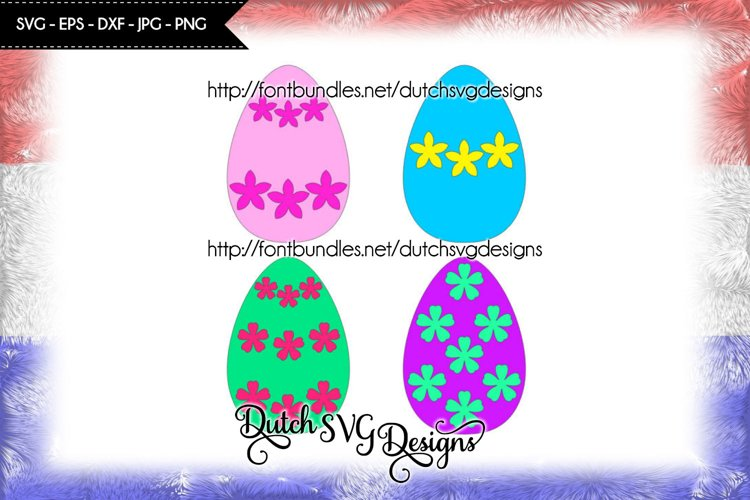 Set of 4 easter eggs cut files, easter svg, flowers svg example image 1