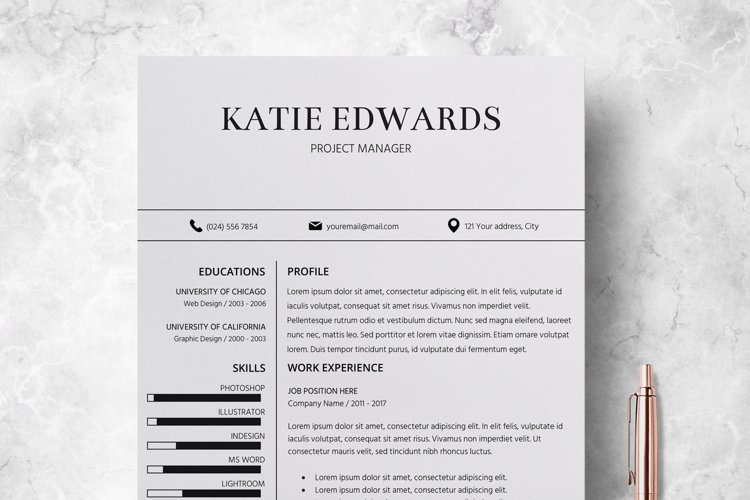 Resume | CV Template Cover Letter - Katie Edwards example image 1
