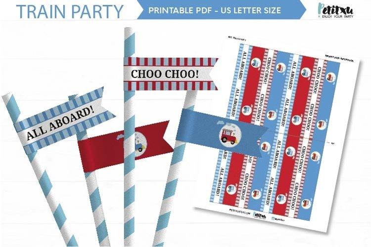 Train birthday straw flags, printable train birthday party example image 1