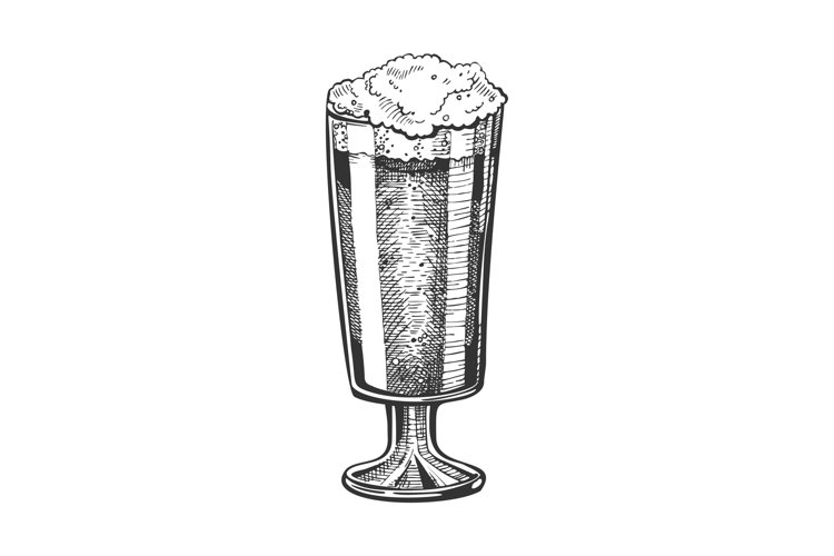 Hand Drawn Glass With Froth Bubble Beer Vector example image 1