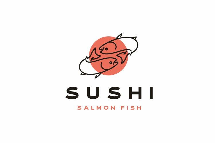 Salmon Poke Bar Logo Design Inspiration Vector example image 1