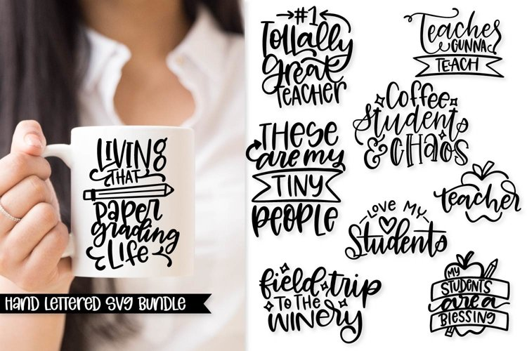 Teacher Hand Lettered SVG Bundle
