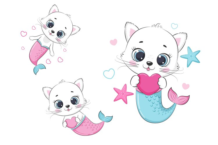Cute little Mermaid clipart, PNG, EPS, JPG, 300 DPI example image 1