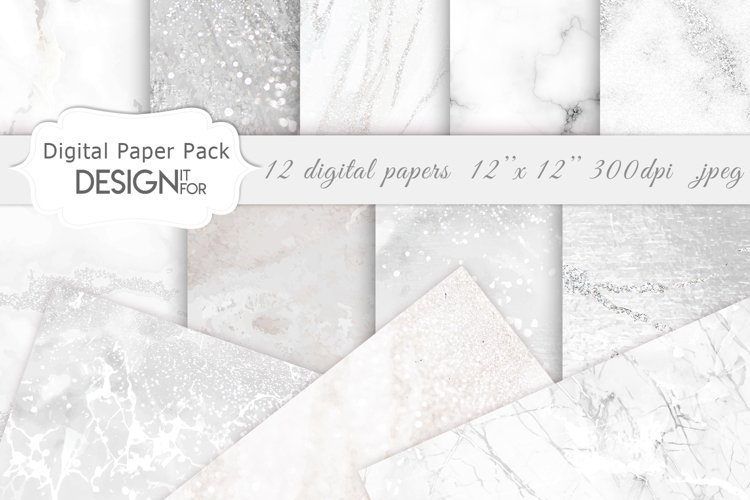 White Marble Digital Paper Pack, Grey Silver Marble Textures