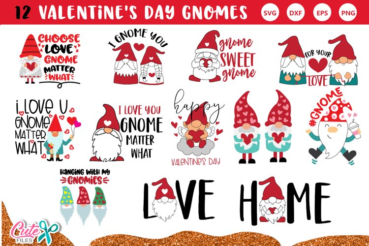 Valentines day Gnome quotes bundle svg for crafters