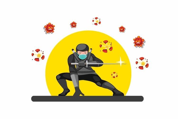 Ninja wear mask destroy evil cell with sword katana vector example image 1